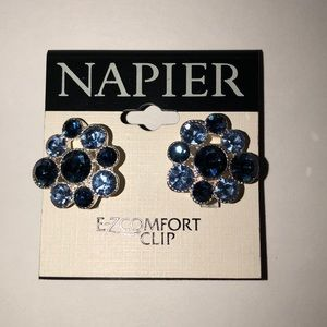 Navy blue and light blue earrings (Clip On's)